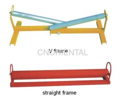 V frame guide set for drum to guide cable into trench or duct