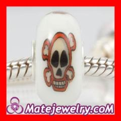 painted skull beads Silver