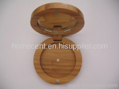 Round Bamboo Cosmetic Compact