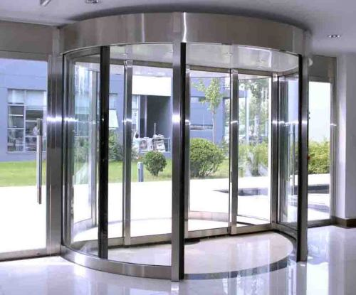 Wing automatic revolving door project from china