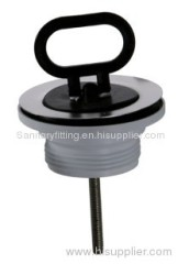Basin sewer head with black plug