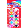 12 colors acrylic paints with a brush