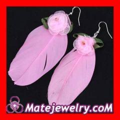 Silk flowers feather earrings