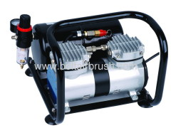 Twin cylinder airbrush compressor with tank with frame (Oil-free)