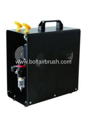 Twin cylinder airbrush compressor with tank with cover (Oil-free)