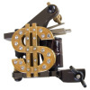Dollar Symbol with Crystal Tattoo Machine For Liner & Shader 10 Wraps Coil