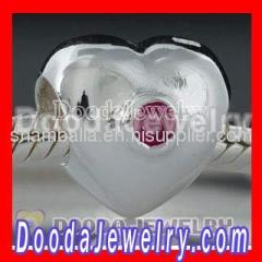 925 silver european puffy heart charm beads