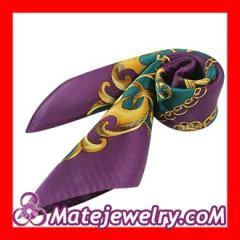 Printed purple silk scarf