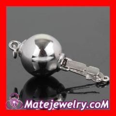 Pearl silver ball clasp