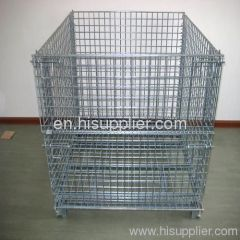 (USD15 /4 wheels)Wire Mesh Container/Tote box /Foldable Wire Mesh Basket