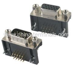 Dimensions mécaniques pour connecteur d-sub d-sub h.d type d'angle droit