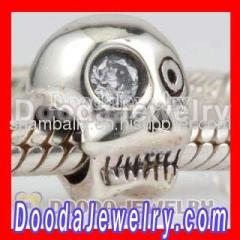 european sterling silver skull head charm beads