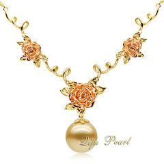 Luxury 18K Gold Necklace with Southsea Pearl and Diamonds