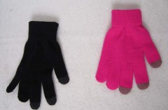 Acrylic gloves, available in black and red