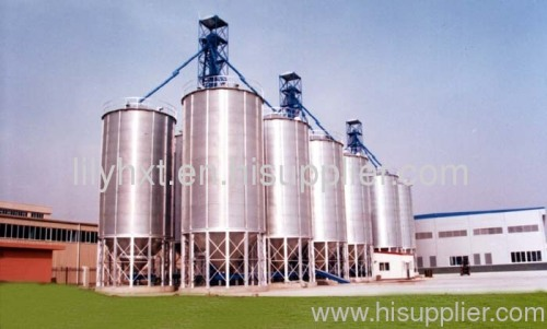 Grain steel silo with precleaner