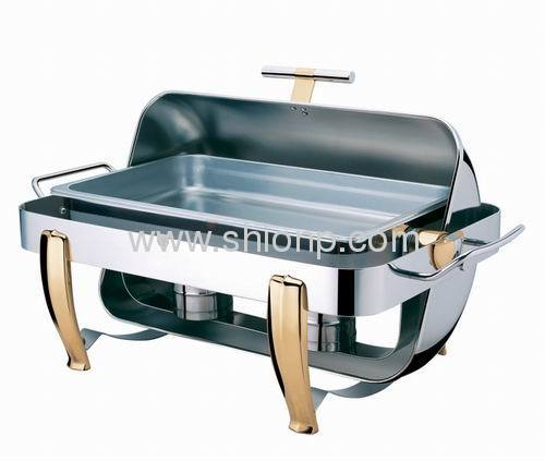 T handle Rectangle roll top chafing dishes