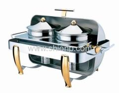 Rectangle soup station with brass legs