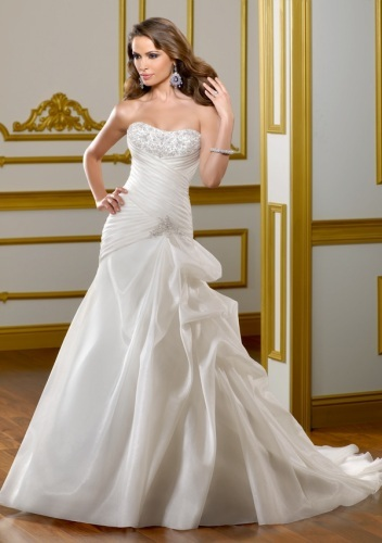 GEORGE BRIDE Simple Strapless Satin Wedding Dress