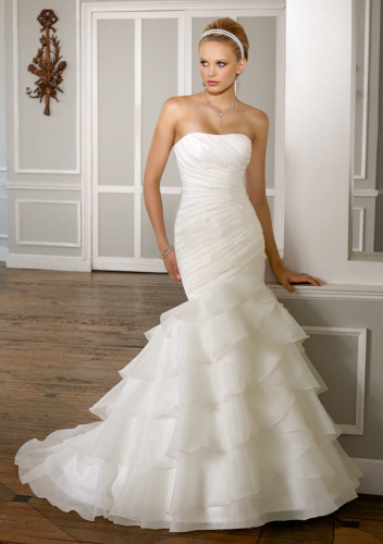 GEORGE BRIDE Mermaid Strapless Satin Wedding Dress With Pleated Bodice