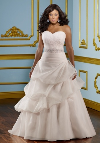 GEORGE BRIDE Satin Strapless Sweetheart Tiered Beaded Plus Size Wedding Dress