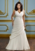 GEORGE BRIDE Gorgeous Strap V Neck A-line Taffeta Court Train Wedding Dress