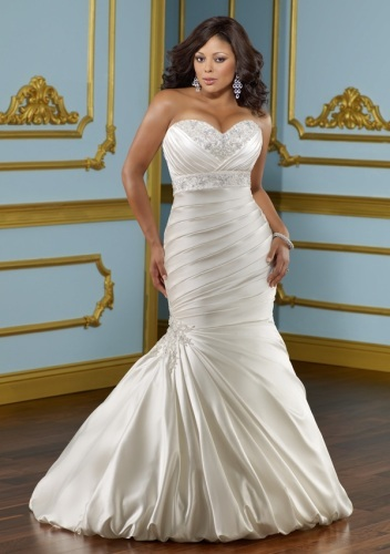 GEORGE BRIDE Mermaid Sweetheart Satin Plus Size Wedding Dress