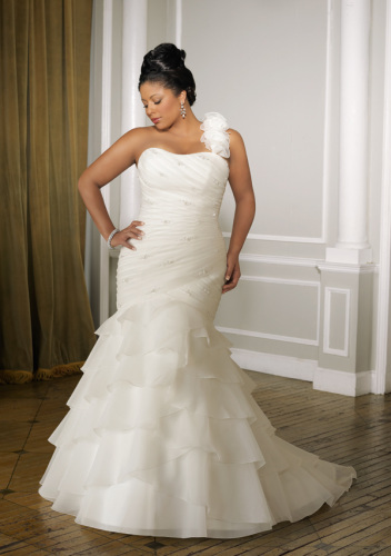 GEORGE BRIDE Plus Size Removable One Shoulder Organza Tiered Wedding Dress