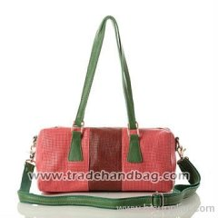 Perforated mixed-color leather handbag wholesale