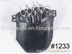 Superior 4 pairs of scissors Black Leather Scissor Holster