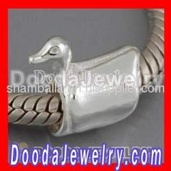 Cheap european Silver Cygnet Charm Beads