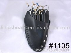 3 pairs of scissors Black Leather Scissors Holster