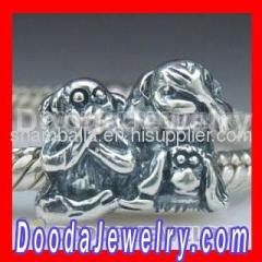 Silver european Chimp Family Charms Beads