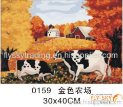 Decorative landscape canvas oil painting by numbers for wall decoration 30*40cm