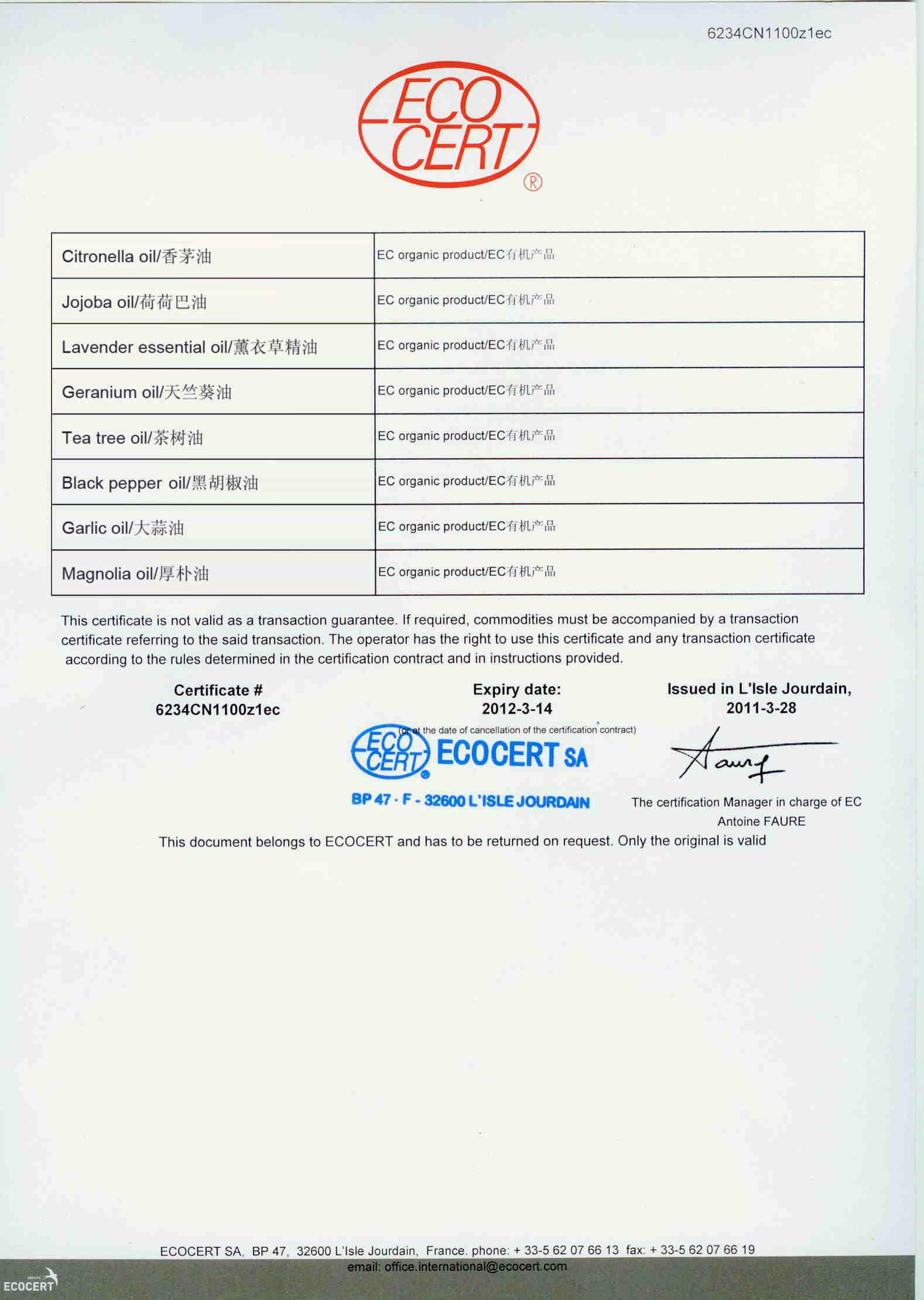ECOCERT Organic Certificate ( EC 834/2007 & EC 889/2008 )