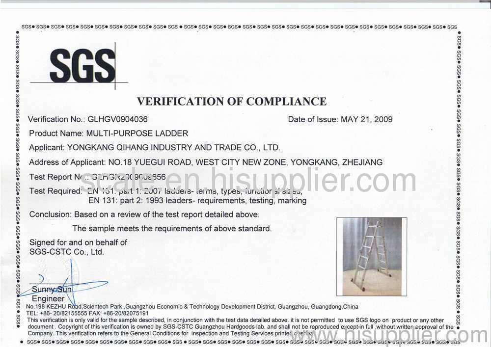 SGS Certificate for Multi-purpose Ladders
