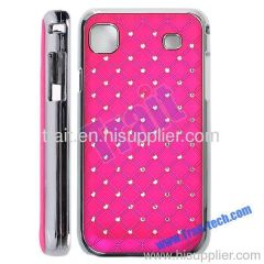 Super Quality Electroplating Edge Frosting Embedded Diamond Hard Case for Samsung Galaxy S i9000(Hot Pink)