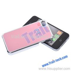 Leather Coated Hard Case for iPhone 4S/iPhone4 with Chormed Edge (Pink)