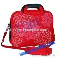 Red Flower Laptop/Notebook Carrying Case Handbag with Shoulder Belt
