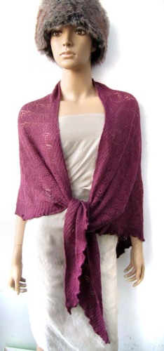 red acrylic knitting wrap