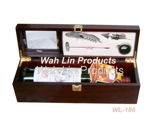 wooden box with wine accessories