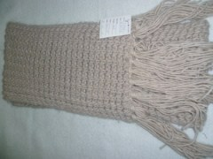beige acrylic knitted scarf