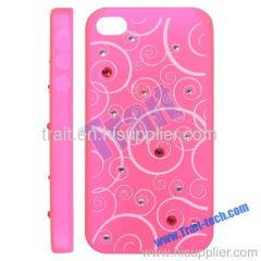 Transparent Waves Pattern with Diamonds Plastic Hard Case Cover for iPhone 4S (Pink)
