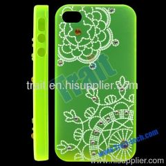 Transparent Flower Pattern with Diamonds Plastic Hard Case Cover for iPhone 4S (Green)
