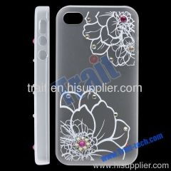 Transparent Flower Pattern with Diamonds Plastic Hard Case Cover for iPhone 4S (White)