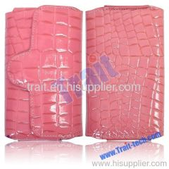 Croc Flip Leather Case for iPhone 4/iPhone 4S (Pink)