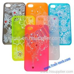 Transparent Flower Pattern with Diamonds Plastic Hard Case Cover for iPhone 4S