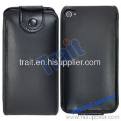 Black Flip Leather Pouch for iPhone 4/iPhone 4S