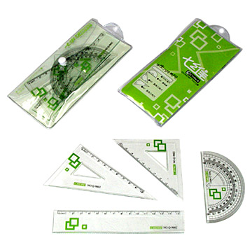 Stationery set with 2pcs square rulers