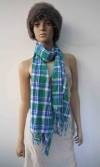 multi color acrylic woven scarf with fringe