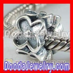 Cheap european Silver Flower Charms